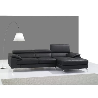 Courtdale Leather Sectional Upholstery: Black, Orientation: Left Hand Facing