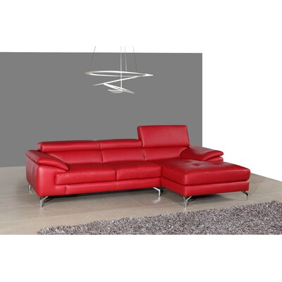 Courtdale Leather Sectional Upholstery: Red, Orientation: Left Hand Facing