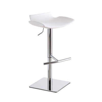 Donora Adjustable Height Swivel Bar Stool Upholstery: White