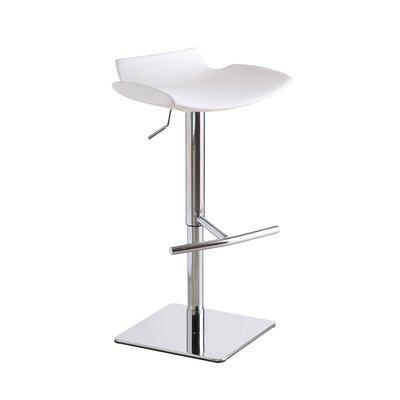Deidra Adjustable Height Swivel Bar Stool Upholstery: White