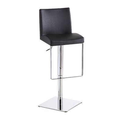 Cranesville Adjustable Height Swivel Bar Stool Upholstery: Black