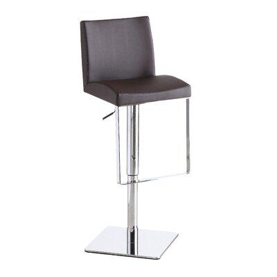 Harlow Adjustable Height Swivel Bar Stool Upholstery: Brown