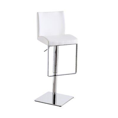 Cranesville Adjustable Height Swivel Bar Stool Upholstery: White