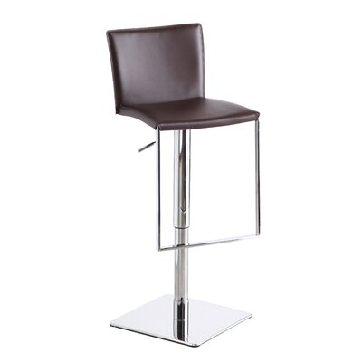 Ryan Adjustable Height Swivel Bar Stool Upholstery: Brown