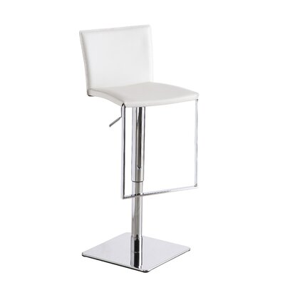 Ryan Adjustable Height Swivel Bar Stool Upholstery: White