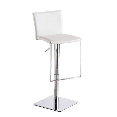 Ryan Adjustable Height Swivel Bar Stool Upholstery: White