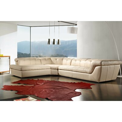 Lola Leather Sectional Upholstery: Beige, Orientation: Left Hand Facing