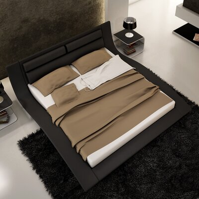 Galeton Upholstered Platform Bed Size: King, Color: Black