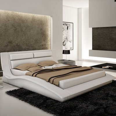 Galeton Upholstered Platform Bed Size: King, Finish: White