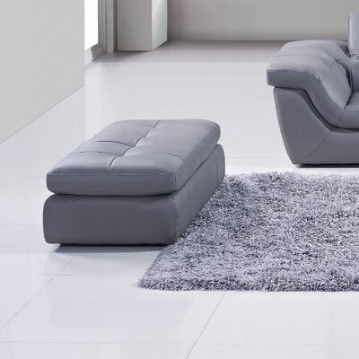 Sandrine Leather Cocktail Ottoman Upholstery: Grey