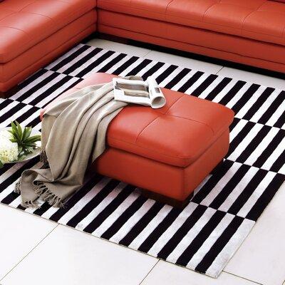 Marceline Leather Ottoman Upholstery: Pumpkin