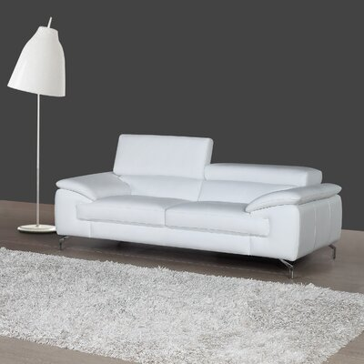 Colwyn Italian Leather Loveseat Upholstery: Bright White