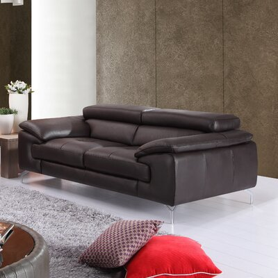Colwyn Italian Leather Loveseat Upholstery: Coffee