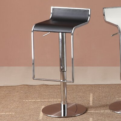 Lalani Adjustable Height Swivel Bar Stool Upholstery: Black