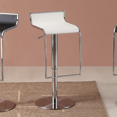 Lalani Adjustable Height Swivel Bar Stool Upholstery: White