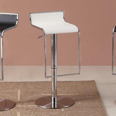 Lalani Adjustable Height Swivel Bar Stool Upholstery: White