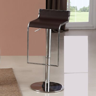 Lalani Adjustable Height Swivel Bar Stool Upholstery: Brown
