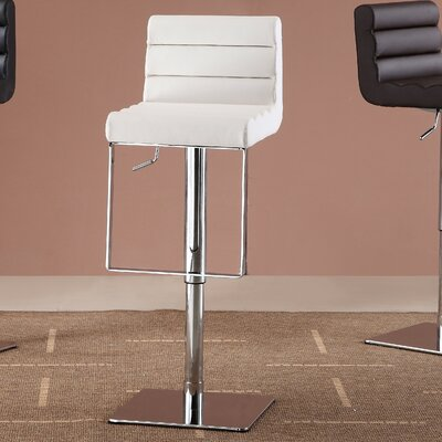 Pascal Adjustable Height Swivel Bar Stool Upholstery: White