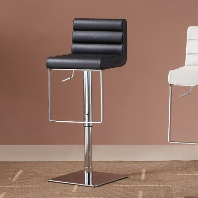 Pascal Adjustable Height Swivel Bar Stool Upholstery: Black