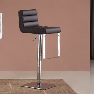 Pascal Adjustable Height Swivel Bar Stool Upholstery: Brown