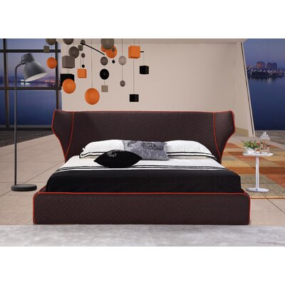Delapena Upholstered Platform Bed Upholstery: Chocolate, Size: Queen