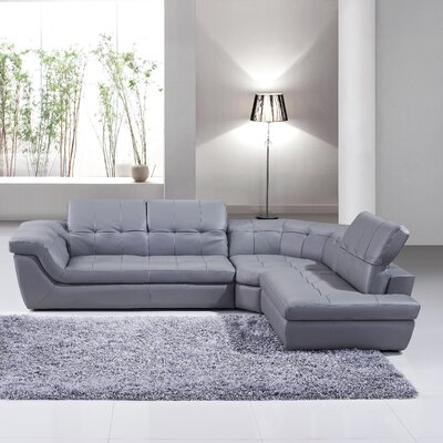 Lola Leather Sectional Upholstery: Grey, Orientation: Right Hand Facing