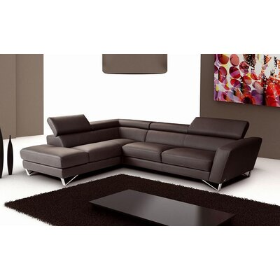 Downingtown Leather Sectional Upholstery: White, Orientation: Left Hand Facing