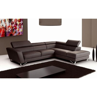 Downingtown Leather Sectional Upholstery: Chocolate, Orientation: Right Hand Facing
