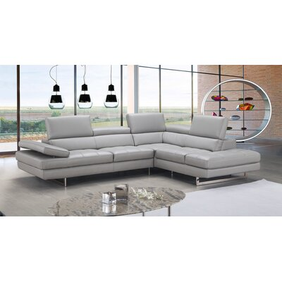 Aurora Premium Leather Sectional Orientation: Right Hand Facing