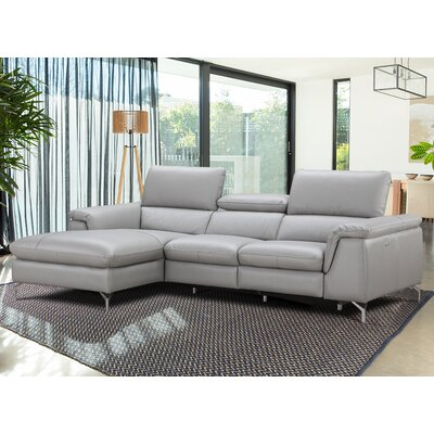 Serena Leather Reclining Sectional Orientation: Left Hand Facing