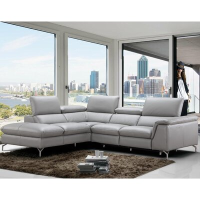 Dupont Leather Reclining Sectional Orientation: Left Hand Facing