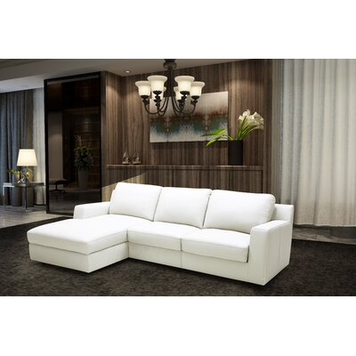 Leather Sleeper Sectional Orientation: Left Hand Facing