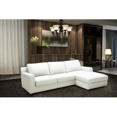 Leather Sleeper Sectional Orientation: Right Hand Facing