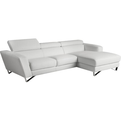 Downingtown Leather Sectional Upholstery: White, Orientation: Right Hand Facing