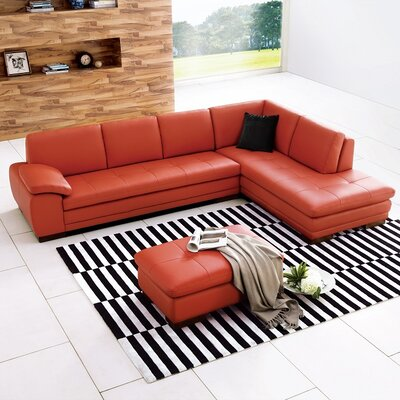 J&M Furniture 174697-RHFC Miami Leather Sectional Orientation