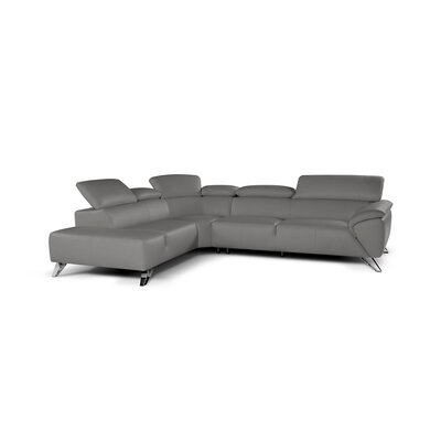 Jessica Leather Sectional Upholstery: Gray, Orientation: Left Hand Facing