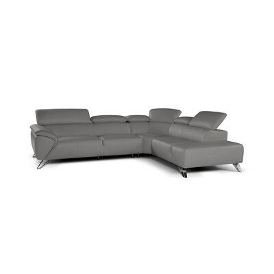 Jessica Leather Sectional Upholstery: Gray, Orientation: Right Hand Facing