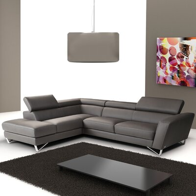 Downingtown Leather Sectional Upholstery: Grey, Orientation: Right Hand Facing