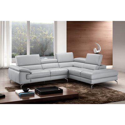 Olivia Leather Sectional Orientation: Right Hand Facing