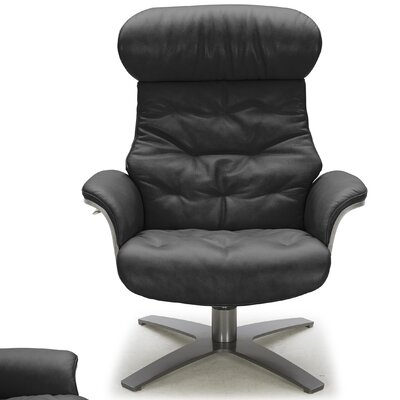 Dakota Swivel Genuine Leather Lounge Chair Upholstery: Black