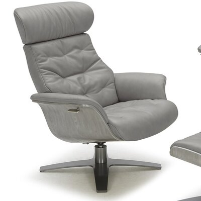 Dakota Swivel Genuine Leather Lounge Chair Upholstery: Gray