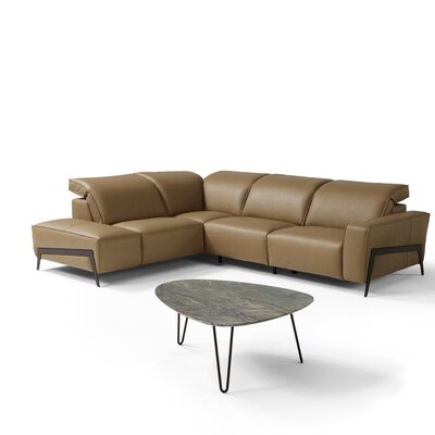 Norwell Leather Reclining Sectional Upholstery: Honey, Orientation: Left Hand Facing