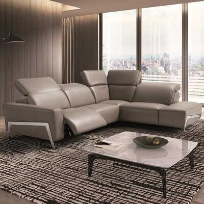 Norwell Leather Reclining Sectional Upholstery: Gray, Orientation: Right Hand Facing