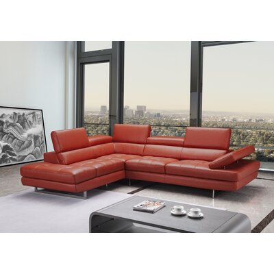 Carolyn Premium Leather Sectional Orientation: Left Hand Facing