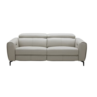 Nakale Motion Genuine Leather Reclining Sofa Upholstery: Light Gray