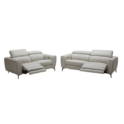 Nakale Motion Genuine Leather Reclining Loveseat Upholstery: Light Gray