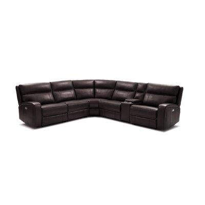 Arty 6 Piece Motion Leather Reclining Sectional Upholstery: Chocolate