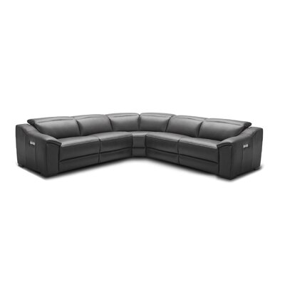 Ozzy Motion Leather Modular Sectional Upholstery: Dark Gray