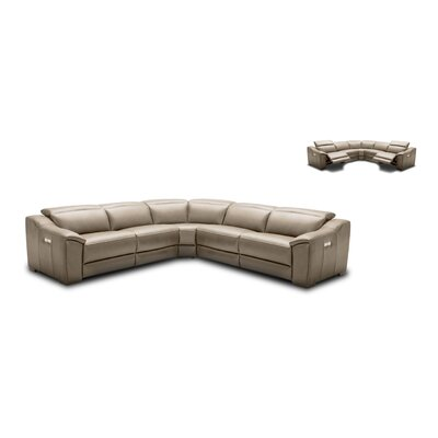 Ozzy Motion Leather Modular Sectional Upholstery: Tan