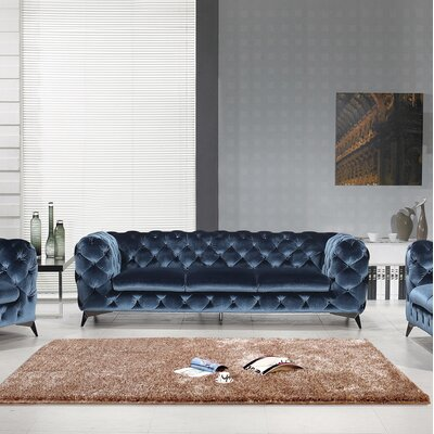 Binstead Chesterfield Sofa Upholstery: Blue
